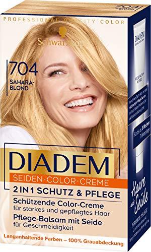 Diadem Schwarzkopf Seiden-Color-Creme, hochwertige Haarfarbe 704 Saharablond Stufe 3, 3er Pack (3 x 170 ml)