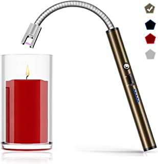 Boncas Flexible Arc Lighter USB Candle Lighter Plasma Lighter Rechargeable Windproof Lighter Long for Household Camping Cooking BBQ Olive Gray (Candle Not Included)
