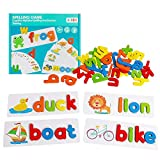 JCREN See Spelling Learning Toys Sight Words Matching Letter Puzzles Games Wooden ABC Montessori Preschool Educational Toys for 3+ Years Kids Boys Girls (28 Flash Cards & 52 Wooden Alphabet Blocks)
