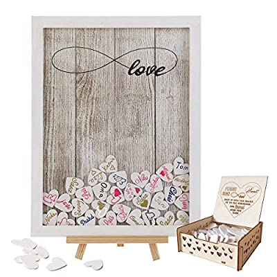 Y&K Homish Wedding Guest Book Wooden Picture Frame, Drop Top Frame Sign Book with 100PCS Wooden Hearts, Rustic Wedding Decorations and The Wedding Gift (White Wooden Frame + Unlimited Love)