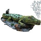 SLOCME Decoraciones de burbujas de aire de cocodrilo para acuario, adorno de acción de aireación, resina de burbujas de oxígeno, manualidades para acuario, decoración de peces.