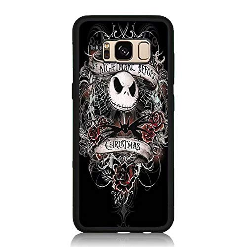 Galaxy S8 Case, Drop Protection Shock Absorbing Silicone Rubber Bumper+Hard Back Shell Protective Case for Samsung Galaxy S8 - Nightmare Before Christmas Emoji Print