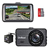 OnReal Dual Dash Cam 3' Full HD Front and Rear Dash Cams Wide Angle Camera with G-Sensor WDR Loop Recording Parking Monitor Motion Detection 32GB SD Card Included
