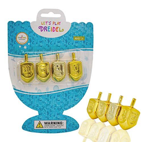 The Dreidel Company Hanukkah Plastic Gold Metallic Dreidels with Letters & English Transliteration - 4-Pack Blister