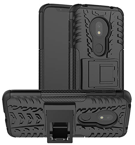 Yiakeng Coque Moto G7 Play, Double Couche Silicone Antichoc Full Protection avec Support Housse Etui pour Motorola Moto G7 Play (Noir)