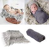 Camidy Conjunto de Accesorios de Fotos para Bebés Conjunto de Envoltura de Envoltura de Manta para Bebés Telón de Fondo de Fotografía de Piel Suave para Niños Y Niñas