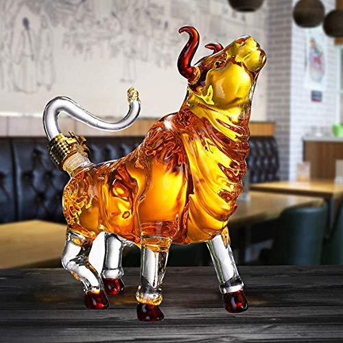 FMXYMC Decantador de toros, Buey del Zodiaco Chino 2021, Figuras coleccionables de Vidrio, Estatua de decoración de Mesa, decantador de Whisky de Animales,2500ML