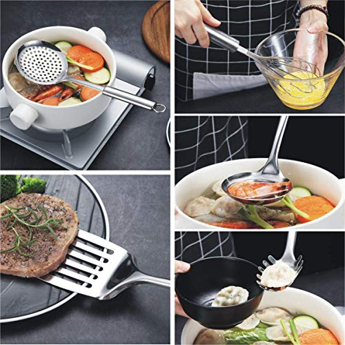 Berglander Stainless Steel Kitchen Utensil 7 Piece with 1 Stand, Slotted Tuner, Ladle, Skimmer, Serving Spoon, Pasta Server,Potato Maseher, Egg Whisk. Kitchen Tool Set. Kitchenware with Holder.