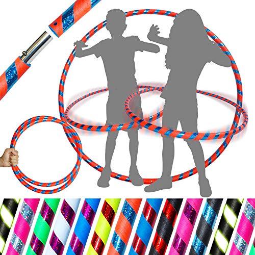 Pro KIDS HULA HOOP Reifen für Kleine Erwachsene und Kinder (10 Farben Ultra-Grip/Glitter Deco) Faltbarer TRAVEL Hula Hoop ideal für Hoop Dance! - Größe 85cm, Gewicht 420g (Orange / Blau Glitter)