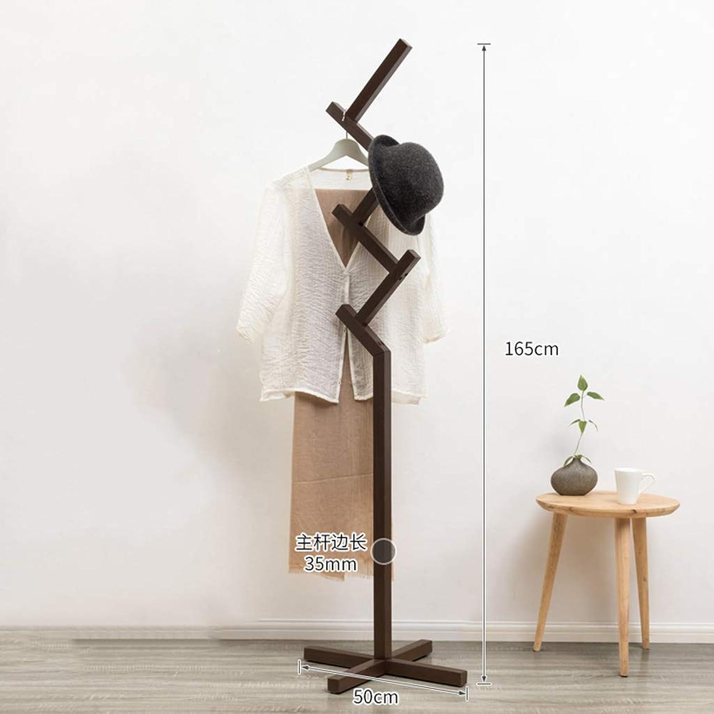 Floor-Standing Coat Rack Simple Solid Wood Bedroom Hanger Racks Clothes Rack Home Storage Rack, Easy to Store,Brown