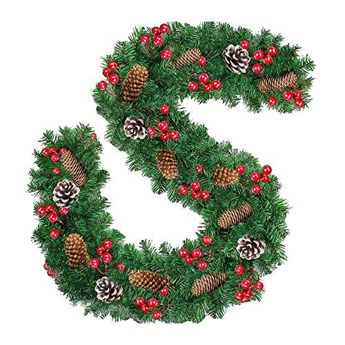 Jingyu Decoración navideña ratán, Flores Abeto guirnalluces Hadas Decoración navideña con iluminación LED, decoración navideña Uso Interior y Exterior 2,7 M