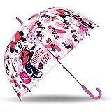 SKYLINE Paraguas para Niños, Minnie Mouse, Campana Transparente, Paraguas Infantil, Poliéster, 72cm diámetro, Vuelta al Cole, Ideal para Niños