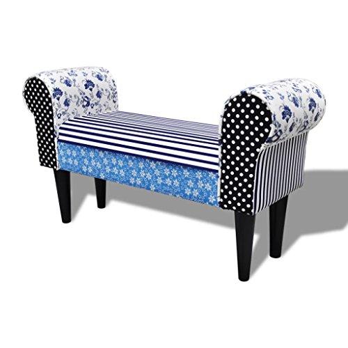 yorten Patchwork Sitzbank Polsterbank Betthocker Bank mit Armlehnen Country Living Stil Blau und Weiß 100 x 32 x 54 cm