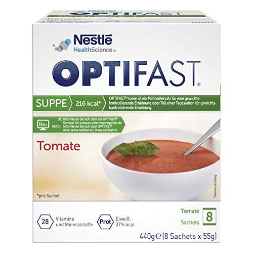 OPTIFAST KONZEPT Diät Suppe Tomate zum Abnehmen | eiweißreicher Mahlzeitenersatz mit wichtigen Vitaminen und Mineralstoffen | schnell zubereitet und lecker im Geschmack |8 x 55g