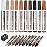 Furniture Repair Kit Wood Markers Wax Sticks, for Stains, Scratches, Wood Floors, Tables, Desks, Carpenters, Bedposts, Touch Ups, and Cover Ups (21)