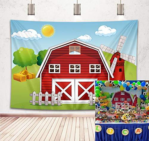 Botong 7x5ft Cartoon Farm Photography Backdrop Red Barn Windmill Animals Barnyard House Kids Birthday Background Baby Shower Newborn Photocall