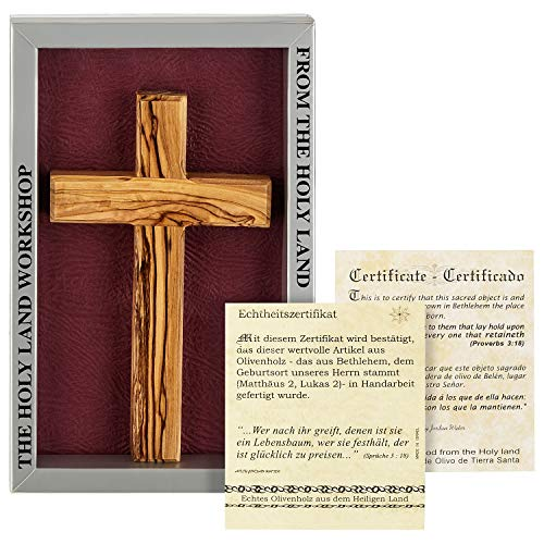 MaMeMi Holzkreuz Olivenholz in Geschenkverpackung. Original aus dem Heiligen Land