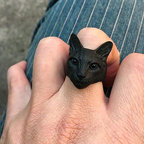 Anillos de Gato de Cabeza Grande Ajustables Bonitos Color Negro Chapado en Plata Antigua Hombres Moda Animal Kitty Anillos de Gato Mujeres