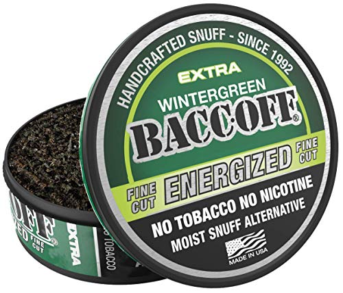 BaccOff, Wintergreen Energized Fine Cut, Premium Tobacco Free, Nicotine Free Snuff Alternative (1 Can)