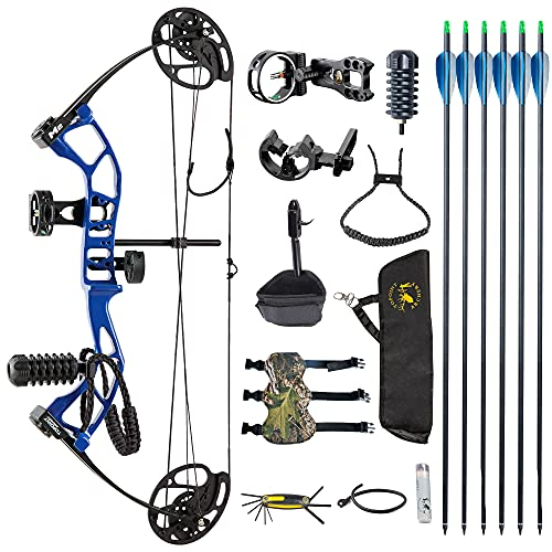 DJH Archery Youth Compound Bow Package,Draw Weight 10-40 Lbs Adjustable,Draw Length 17'-27' Adjustable,Axle to Axle 25',Lightweight Design,USA-Made Limbs by Gordon Composites (Blue)