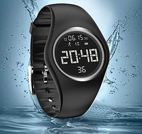 Armbanduhr und Fitness-Armband, wasserdicht IP68, zum genauen Verfolgen von Schritten, Entfernungen und Kalorien, mit Timer-Funktion, zum Laufen, Rennen für Damen und Herren (ohne Bluetooth) (Schwarz)