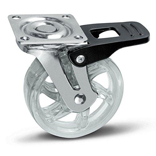SOTECH Möbelrolle Shift 75 mm transparent mit Bremse, Tragkraft 35 Kg, Lenkrolle