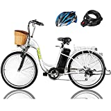 NAKTO 26' 250W Cargo Electric Bicycle Sporting Shimano 6 Speed Gear EBike Brushless Gear Motor with Removable Waterproof Large Capacity...