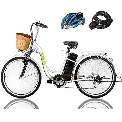 NAKTO 26' 250W Cargo Electric Bicycle Sporting Shimano 6 Speed Gear EBike Brushless Gear Motor with Removable Waterproof Large Capacity 36V10A Lithium Battery and Battery Charger