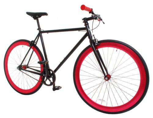 Vilano Rampage Fixed Gear Fixie Single Speed Road Bike, Black/Red, Medium/54cm