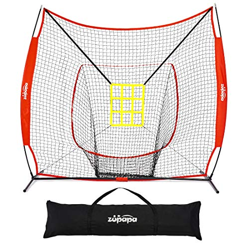 Zupapa 7 x 7 Feet Baseball & Softball Practice nets, Practice Pitching net for Hitting, Pitching, Batting, Catching, Fielding, Baseball net with Adjust Strike Zone, Large Mouth, Carrying Bag.