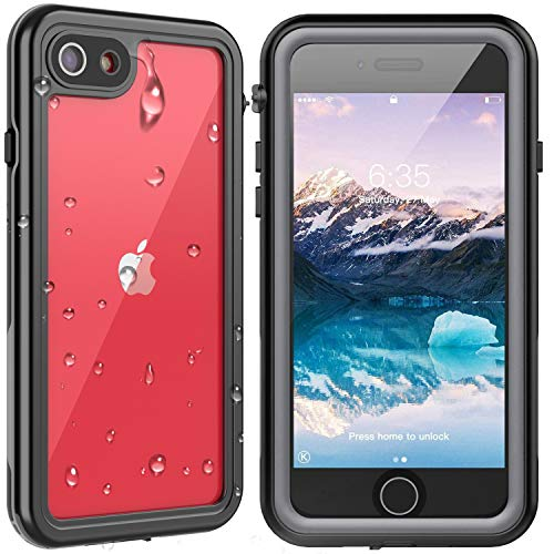 SPIDERCASE iPhone SE 2020/iPhone 7/iPhone 8 Waterproof Case, Built-in Protector Full Body Rugged Case, IP68 Shockproof Dirtproof Snowproof Cover for iPhone SE 2020/7/8, 4.7 Inch (Black/Clear)