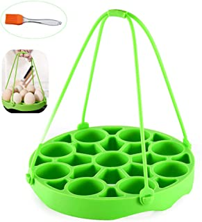 KeepingcooX Silicone Egg Rack Stand with Handles For Instant Pots/Pressure Cooker/Multi-Cookers 6,8 Qt, Steamer Basket Insert for Hard/Soft Boiled Eggs/Dishes, Microwave, Cleaning Brush as Free Gift