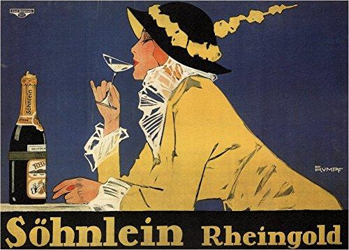 Kunst-Poster, Vintage-Stil, Bier, Weine und Spirituosen, Motiv Söhnlein Rheingold, Deutschland, 1914, 250g/m², glänzend, A3, Reproduktion