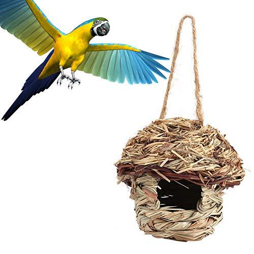 FTVOGUE Straw Bird House Nest Vogelhaus für Papagei Hamster Kleintiere Tiere Käfig nach Hause hängenden Dekor(01)