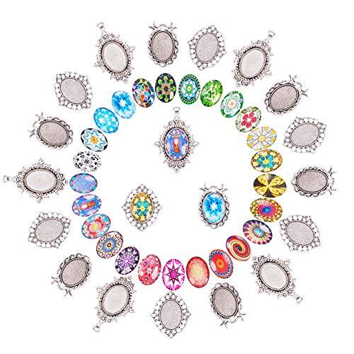 PandaHall Elite DIY Colgante de joyería Que Hace 30 Piezas de Mosaico Oval cabujón de Cristal Impreso con 30 Piezas en Estilo Tibetano