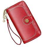 Portafoglio in pelle da donna di grande capacità Portafoglio di alta qualità borsa, con molti scomparti e 11 porta carte di credito lungo Portafoglio. (Vino Rosso)