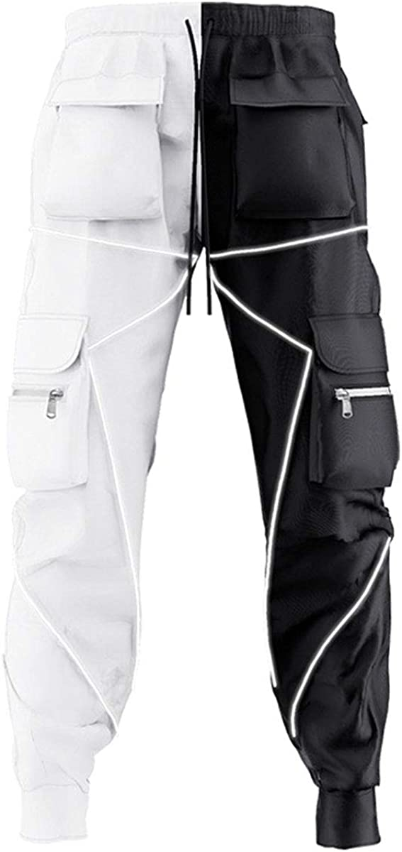 ebossy Attention brand Men's Multi Pocket Fashion Technical Cargo Reflecti Pants 67% OFF of fixed price