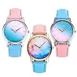 jsdde 3x Fashion Cute Candy Color Mujer Reloj De Pulsera Azul de Cielo Estrellado, Color Rosa Degradado Cuarzo Reloj Amistad Vestido Reloj Set