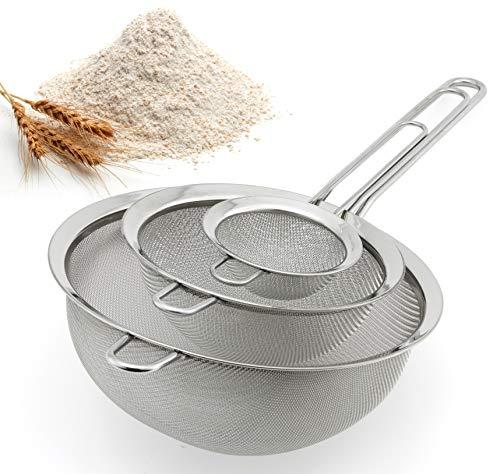 Spring Chef Premium Fine Mesh Strainers, 100% Stainless Steel, Set of 3 Kitchen Sieves