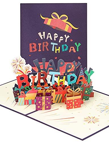 yumcute 3D Pop Up Grußkarten Alles Gute zum Geburtstag Motiv Geburtstagskarte mit Umschlag Für Familie, Freunde, Liebhaber(Lila)