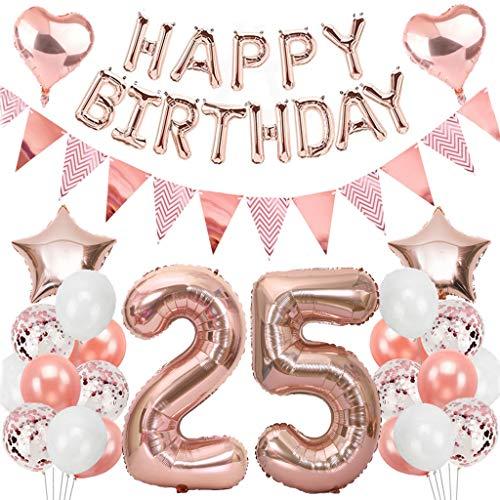 Ouceanwin 25° compleanno, decorazione per festa di compleanno, in oro rosa, con numero 25, palloncini a elio Happy Birthday, ghirlanda di bandierine, bandierine per 25° compleanno per ragazze e donne