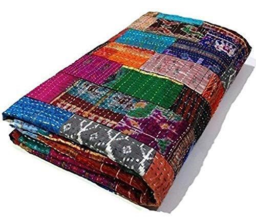 STALLION COTTON CLOTHING Colcha Kantha Kantha de seda de tamaño queen, colcha Kantha, manta de parche Kantha, King Kantha, Kantha Rallies Indian Sari, tamaño 90 pulgadas x 108 pulgadas