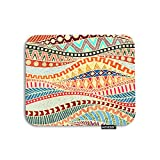 AOYEGO Wavy Stripes Mouse Pad Colorful Ethnic Lines Geometric Tribal Circle Triangle Gaming Mousepad Rubber Large Pad Non-Slip for Computer Laptop Office Work Desk 9.5x7.9 Inch