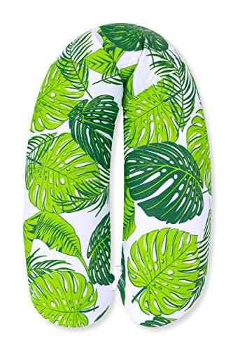 Amilian Stillkissen mit Füllung fürs Baby 170 cm Bezug 100% Baumwolle mit Reißverschluss Babykissen (Blätter Grün)