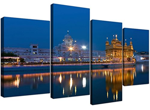 Large Sikh Canvas Wall Art Pictures of The Golden Temple at Amritsar - Set of 4 - Multi Panel Artwork - Modern Split Canvases - XL - 130cm Wide