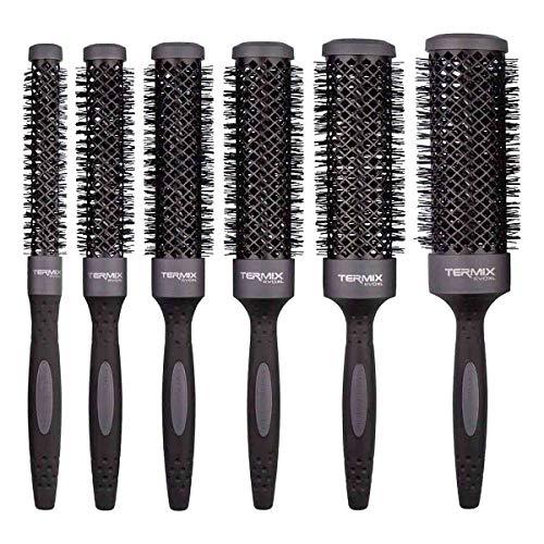 Termix Evolution XL - Pack de 5 cepillos de pelo térmicos redondos. 3 cm más largo. Reduce el tiempo del secado gracias a sus fibras ionizadas y su tubo anti-adherente