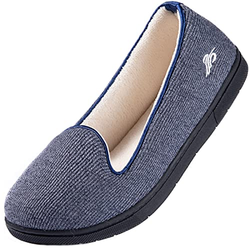 Wishcotton Womens Cozy House Slippers, Memory Foam House Shoes with Closed Back, Navy, 9 M US