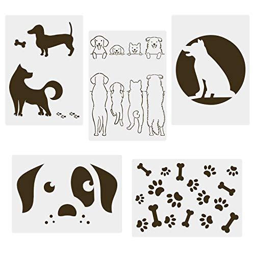 CODOHI Hundeschablonen, 5 Stücke A4 Dog Paw Schablonen zum Malen von Mylar-Vorlagen für Journaling, DIY Home Decor Rock Art-Projekte, Backen von Keksen, Kunsthandwerk 21x29.7cm