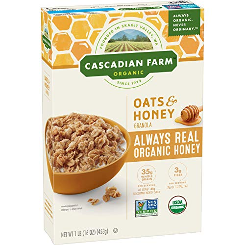 Cascadian Farm Organic Granola Oats and Honey Cereal 16 oz Pack of 6