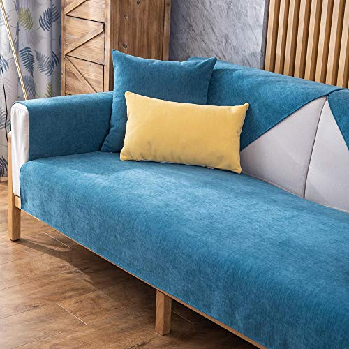 Suuki Sofas Salon Chaise Longue,Funda de sofá de Dormitorio, Fundas de cojín de sofá de Chenilla de jardín,Protector de sofá Antideslizante Protector-Zafiro_110 * 110cm-Vendido por Pieza